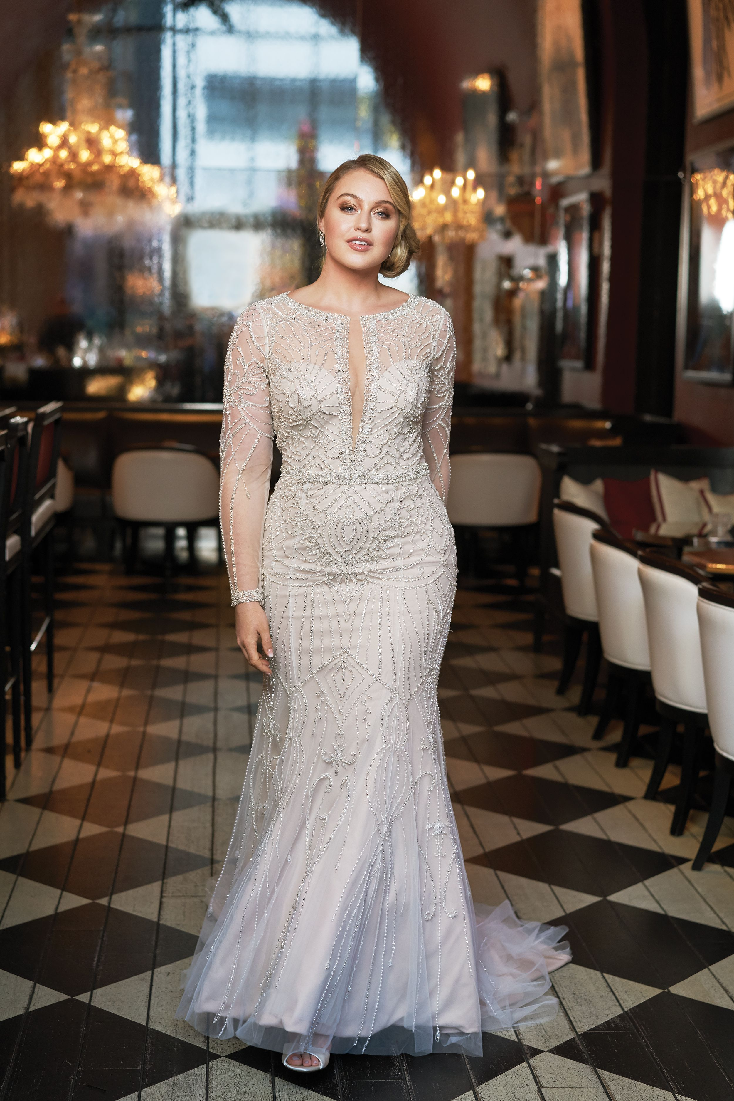 Iskra Lawrence in Style 9894 by Justin Alexander Signature