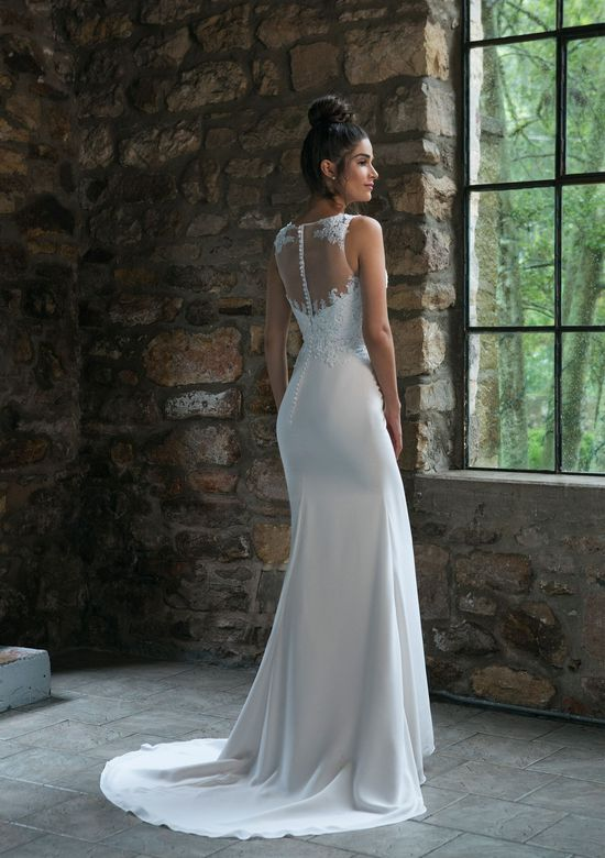 Sincerity Bridal Style 44066 Straight Lace Detailed Gown with Sabrina Neckline