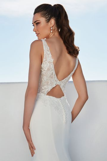 Justin Alexander Style 88176 Brienne Plunging V-Neck Fit and Flare Dress with Low Keyhole Back