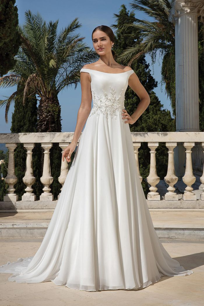 Justin Alexander Style 88092 Chiffon A-Line Dress with Beaded Motif and Lace