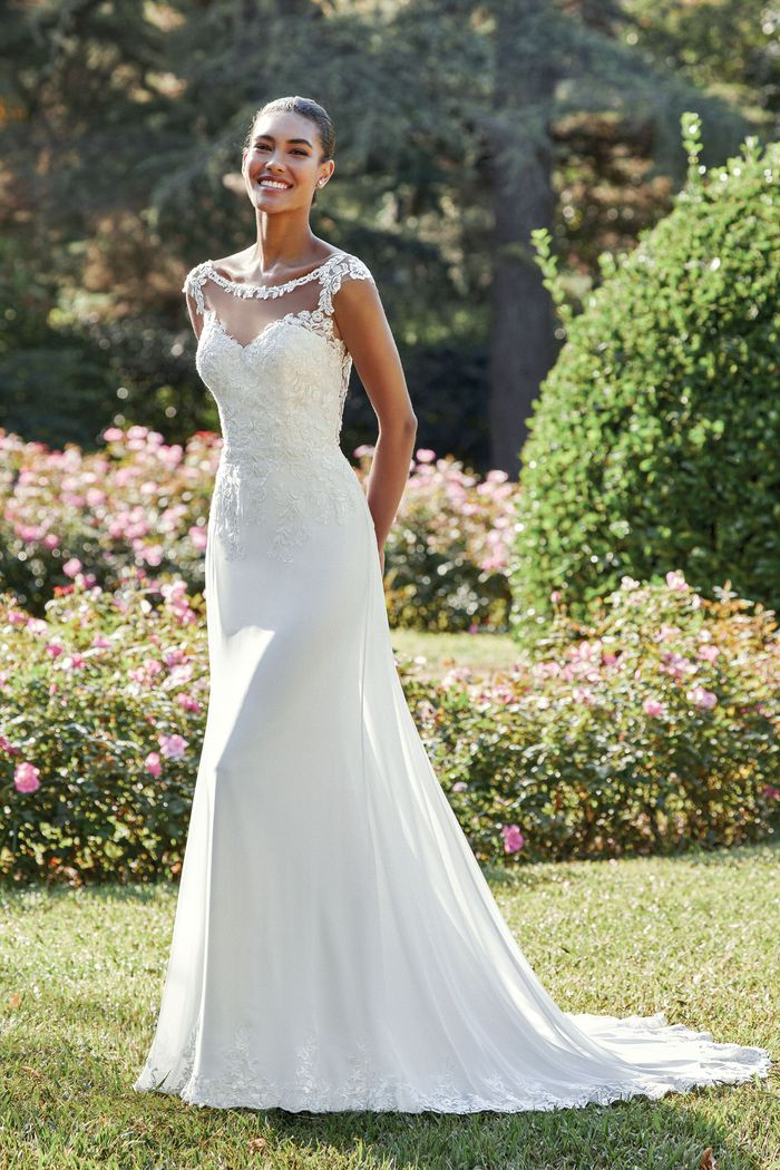 Sincerity Bridal Style 44121 Chiffon Fit and Flare Dress with Venice Lace Bodice