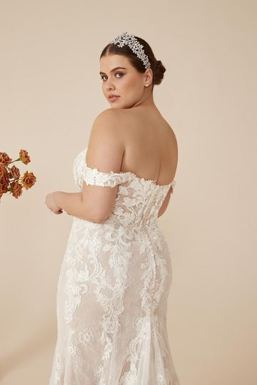 Justin Alexander Style 88224PS Caela Plus Size Lace Fit and Flare Gown with Illusion Bodice and Detachable Straps