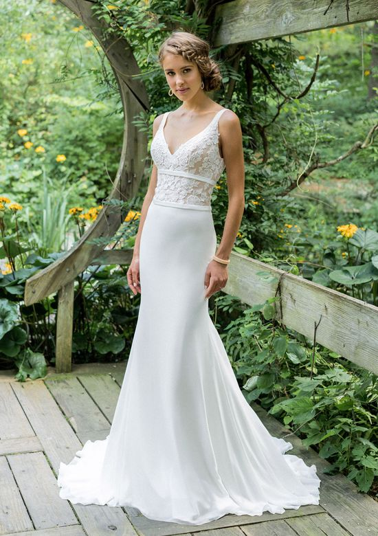 Lillian West Style 66007 Lace V-Neck Tulle Sleeveless Fit and Flare