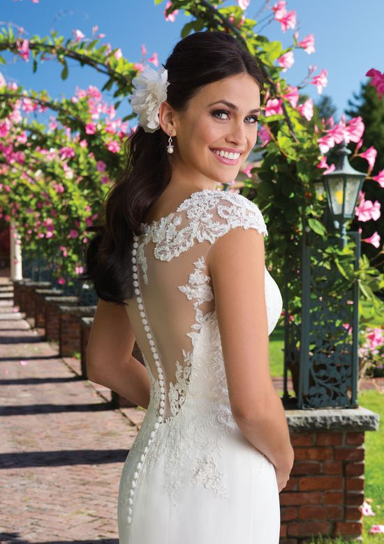 Sincerity Bridal Beaded Lace and Chiffon Gown with Illusion Back