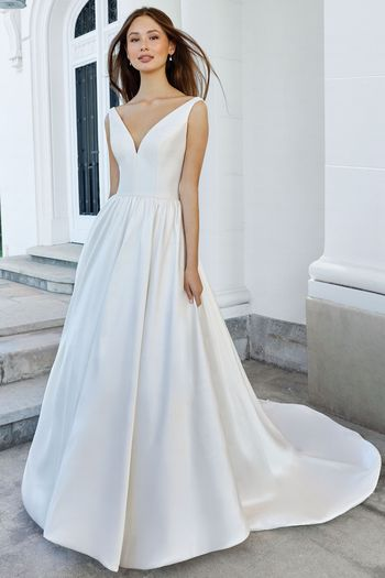 Adore by Justin Alexander Style 11112 Clean Mikado A-Line Gown with V-Neck and Pockets