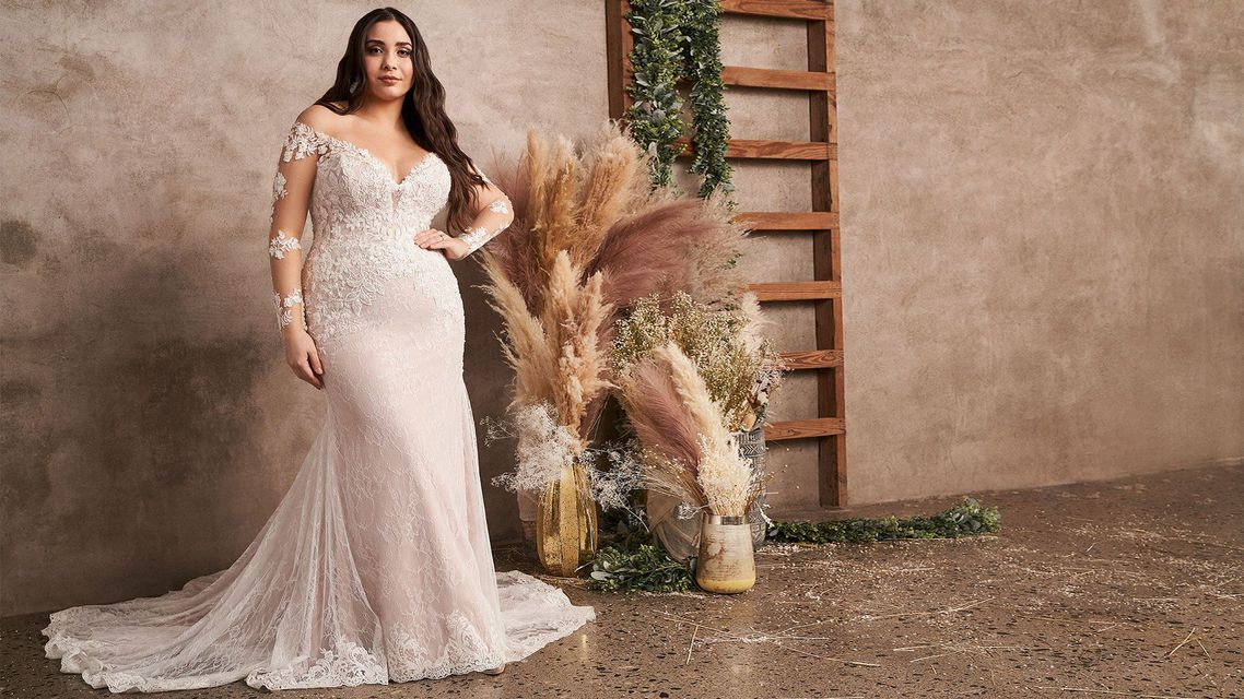 Lillian West Style 66129PS Off the Shoulder Plus Size Fit and Flare Dress with Long Sleeves