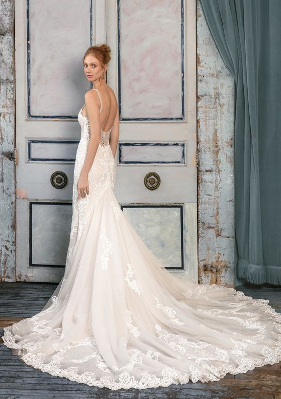 Justin Alexander Signature Style 99008 Lace Fit and Flare Gown with Lattice Beaded Detail