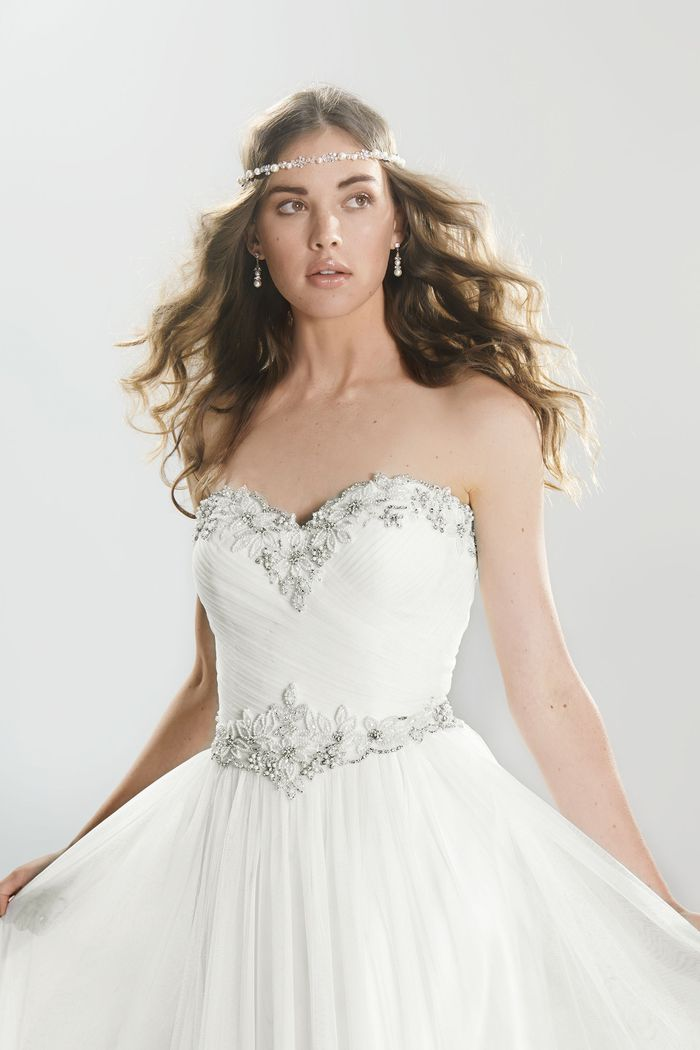 Lillian West Style 6411 English Net Sweetheart Bodice A-Line Gown with Floral Beading