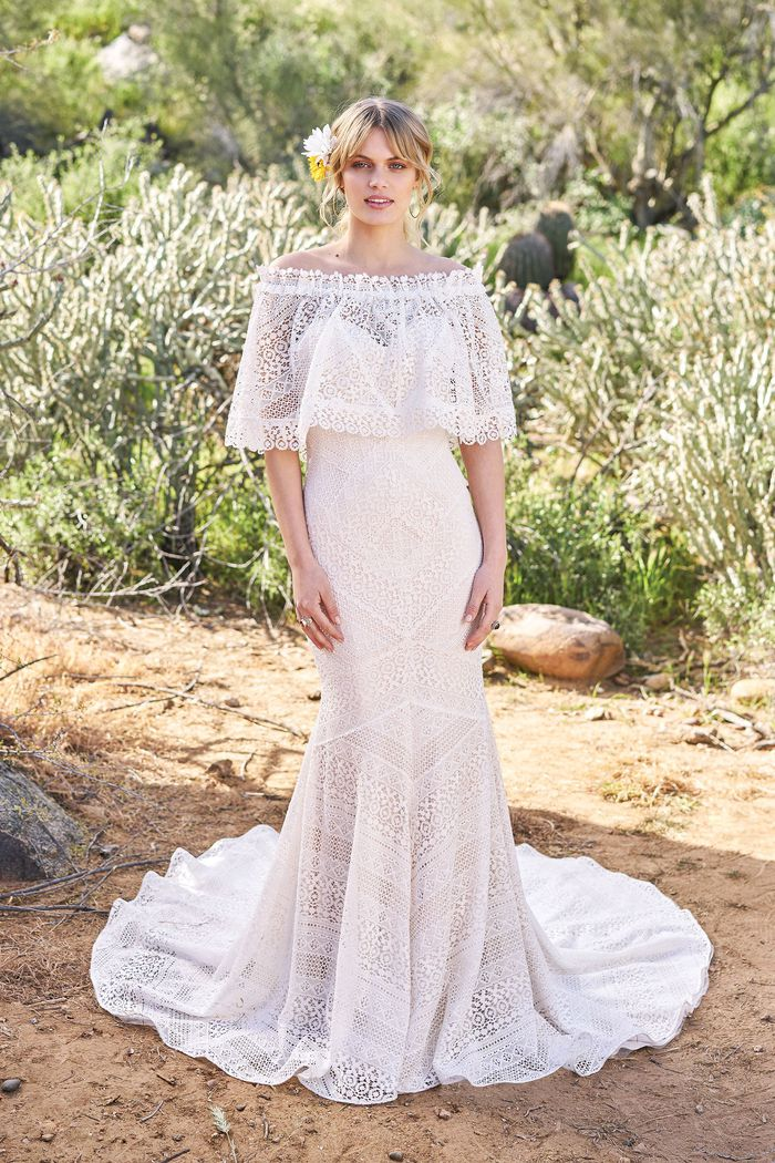 Lillian West Geometric Lace Fit and Flare Gown with Matching Cape