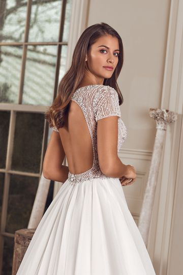 Justin Alexander Style 88164 Avery Short Sleeve Ball Gown with Fully Beaded Bodice and Keyhole Back