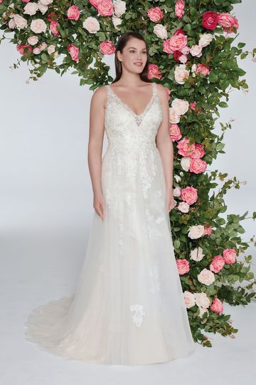 Sweetheart Gowns Style 11031 Plunging V-Neck Gown with Basque Waistline