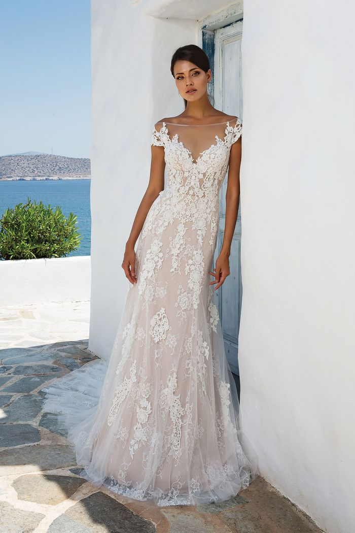 Justin Alexander Style 8963 Layered Lace Off the Shoulder Gown with Illusion Neckline and Back