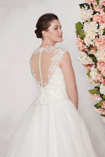 Sincerity Bridal Style 3982PS Beaded Corded Lace and Tulle Plus Size Ball Gown with Queen Anne Neckline