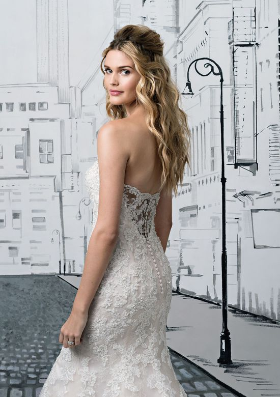 Justin Alexander Style 8884 Beaded Lace Fit and Flare Gown with Illusion Back