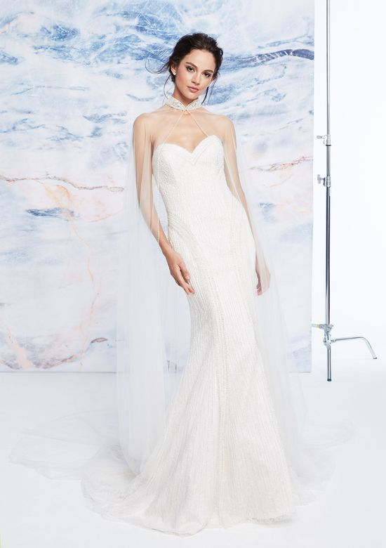 Justin Alexander Signature Style 99065 Linear Beaded Fit and Flare Dress with Detachable Cape
