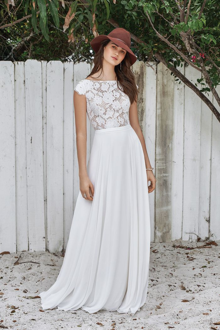 Lillian West style 66039 Sabrina Allover Lace Bodice with Keyhole Back Dress