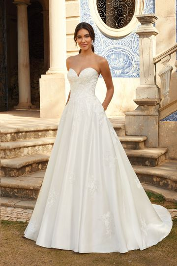 Sincerity Bridal Style 44235 Sweetheart Satin Ball Gown with Floating Appliqués
