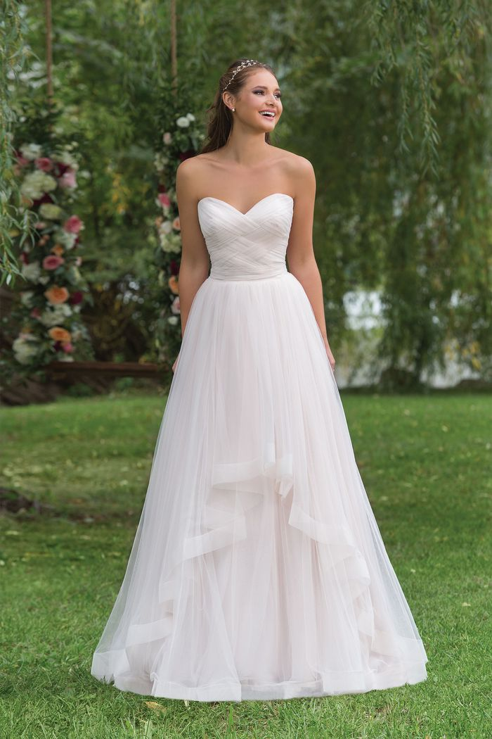 Sweetheart Gowns Style 6158 Basket Weave Bodice with Tiered Tulle Skirt
