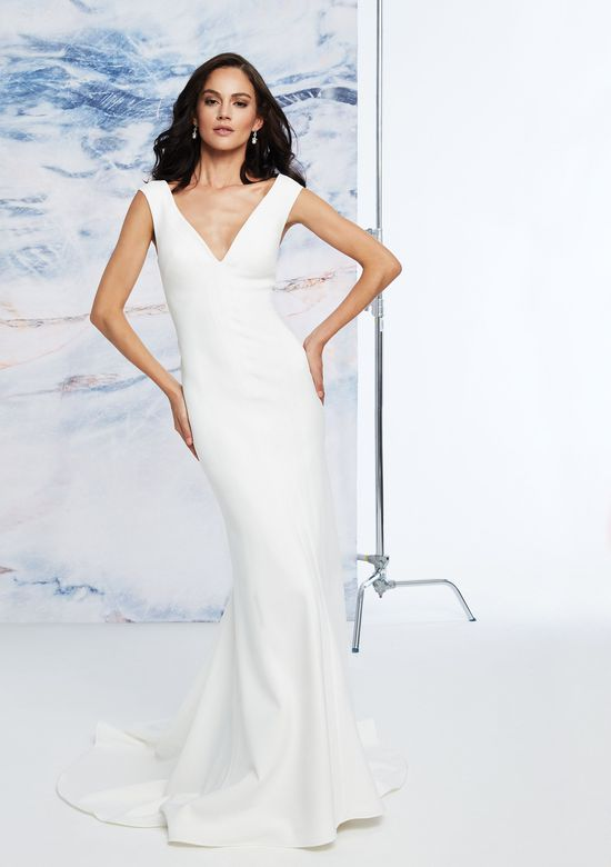 Justin Alexander Signature style 99054 Vienna V-Neck Crepe Fit and Flare Dress with Open Back