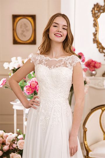 Sweetheart style 6116 	Style 6116 | Tulle and Lace Slim A-Line Dress with Sabrina Neckline
