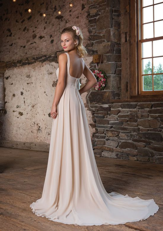 Sweetheart Gowns Style 1112 Scoop A-Line Dress with Eyelash Lace at Empire Waist