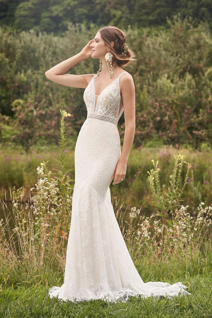 Lillian West Style 66136 Allover Lace Gown with Trim Detail and Shaped Train