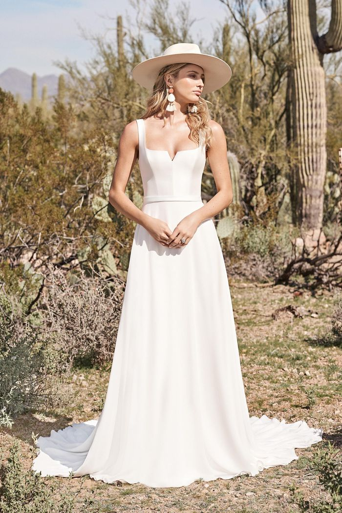 Lillian West Style 66152 A-Line Gown with Notched Square Neckline and Square Back