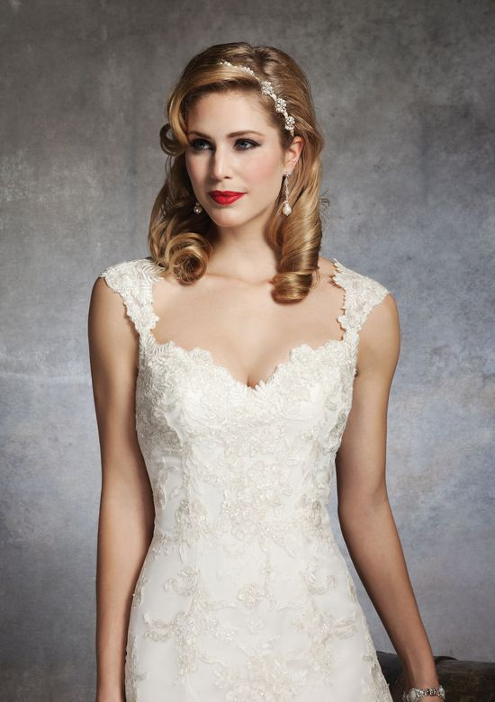 Justin Alexander Style 8653 Beaded lace A-line dress highlighted with a sweetheart neckline