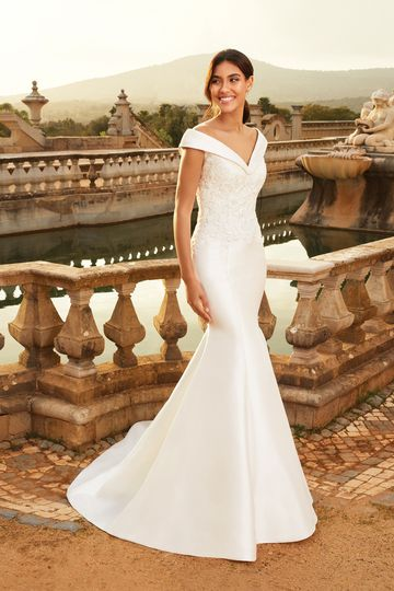 Sincerity Bridal Style 44234 Mikado Mermaid Gown with Cuffed Portrait Neckline