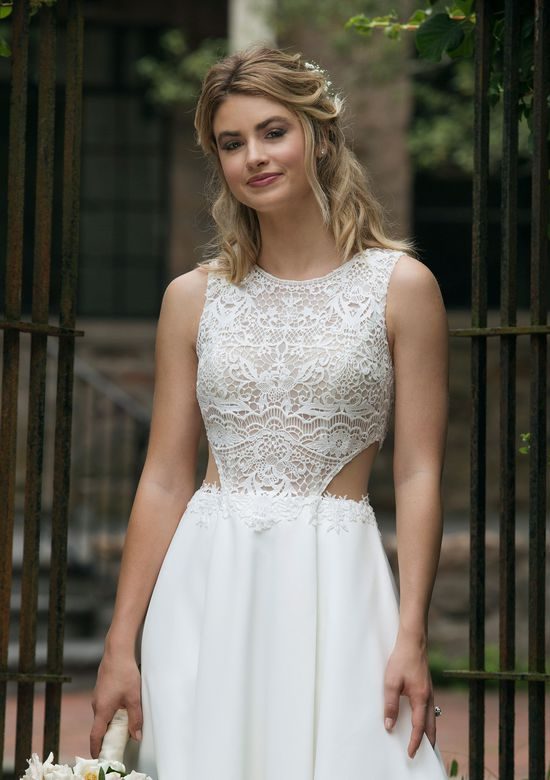 Sincerity Bridal Style 44044 Jewel Neckline Lace Bodice Satin Ball Gown