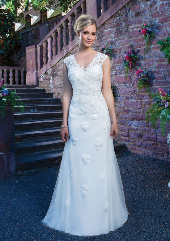 Sincerity Bridal Style 3868 Venice lace and tulle straight accented by a v-neck neckline.