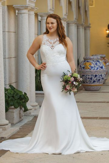 Sincerity Bridal Style 44048PS Jewel Lace Illusion Neckline Fit and Flare Plus Size Gown