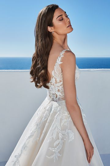 Justin Alexander Style 88196 Breena Illusion Bodice A-Line Dress with V-Back