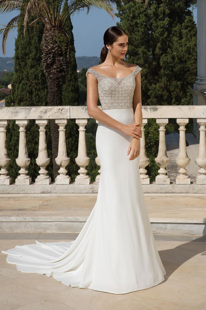 Justin Alexander Style 88083 Beaded and Crepe Fit and Flare Gown