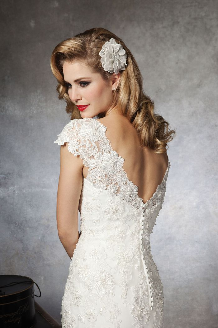 Justin Alexander Style 8658 Lace A-line dress complemented with a Sabrina neckline