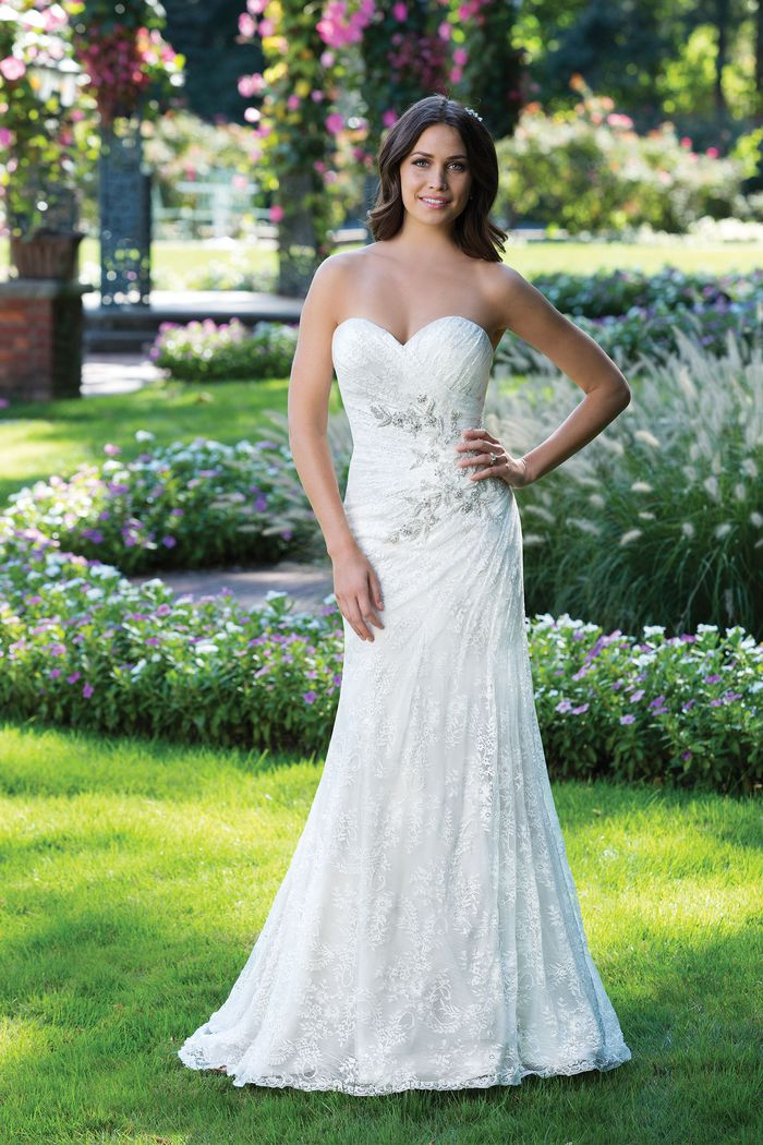 Sincerity Bridal Style 3925 Lace Fit and Flare Gown with Beaded Motif