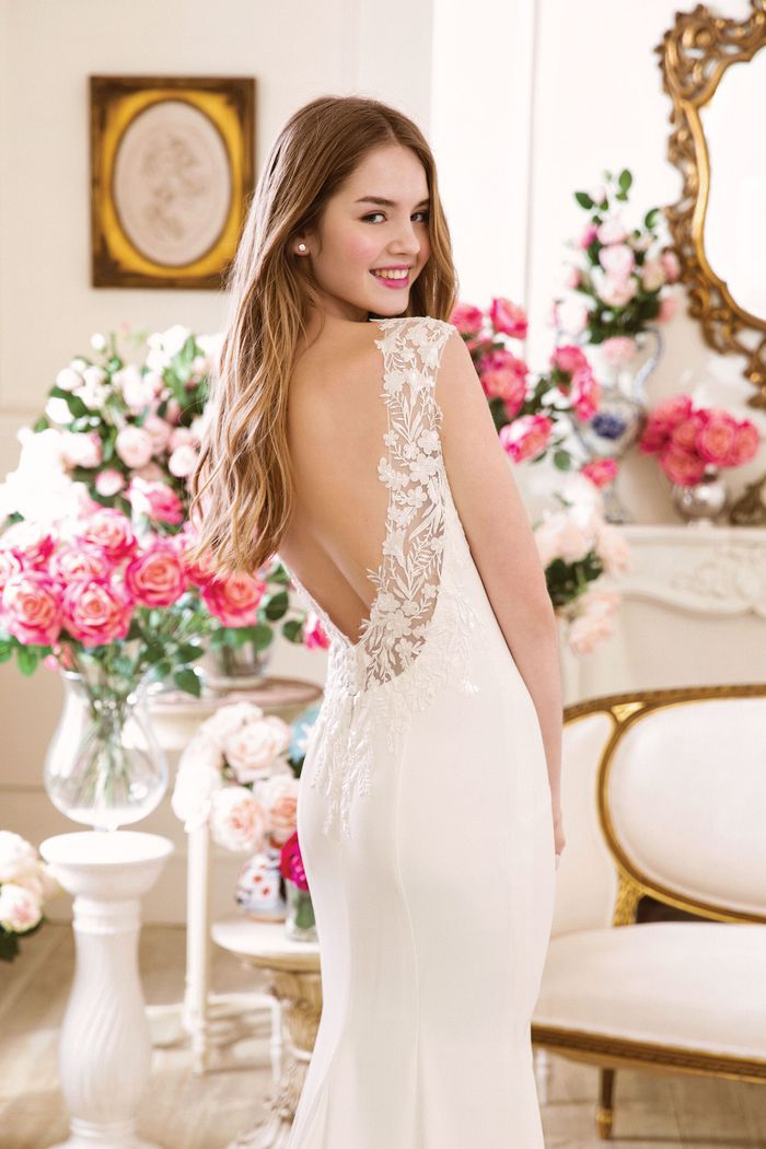 Sweetheart style 11057 Crepe Fit and Flare Gown with Beaded Appliqued Back Neckline