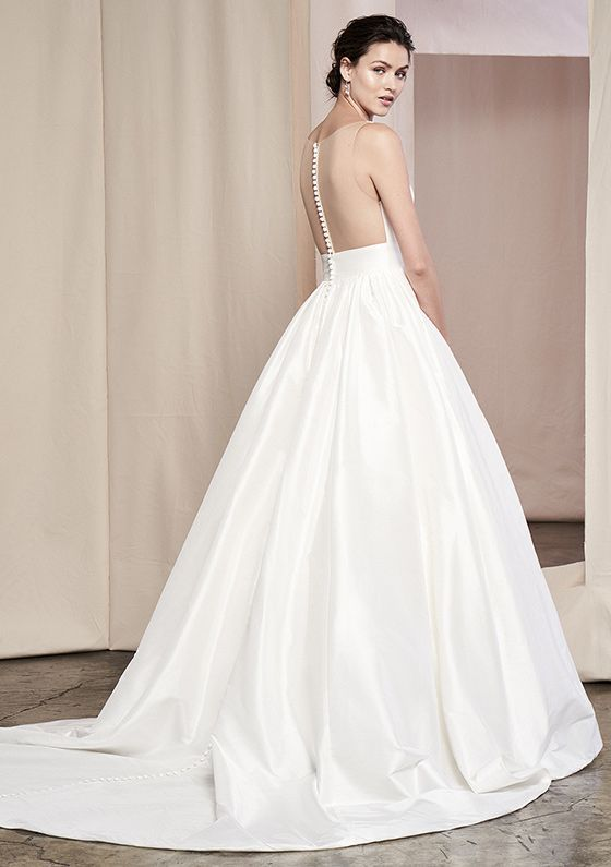 Justin Alexander Signature Style 99091 | Silk Dupion Gown with Illusion Back