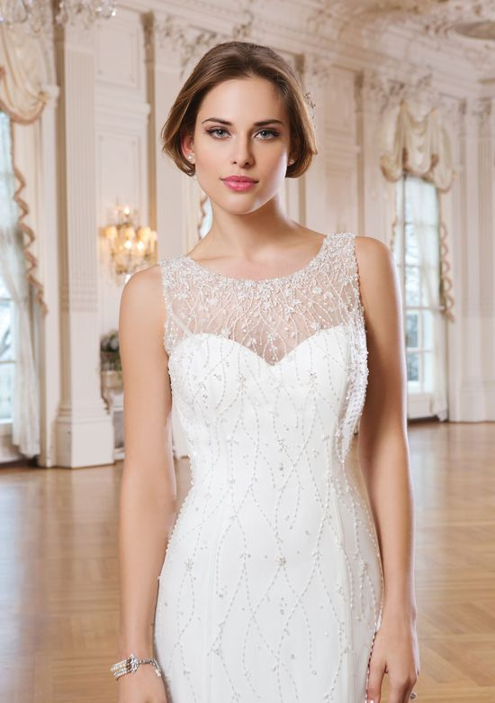 Lillian West Style 6351 Organze Fit and Flare Dress with Cascading Beading