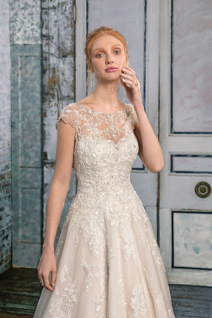 Justin Alexander Signature Style 99009 Tulle A-Line Gown with Illusion Sabrina Neckline
