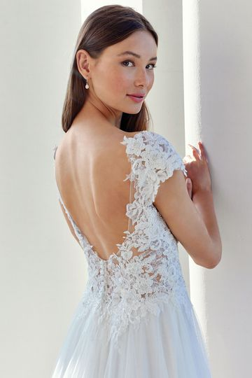 Adore by Justin Alexander Style 11131 Lace Illusion Bodice Gown with English Net Skirt and Scoop Back