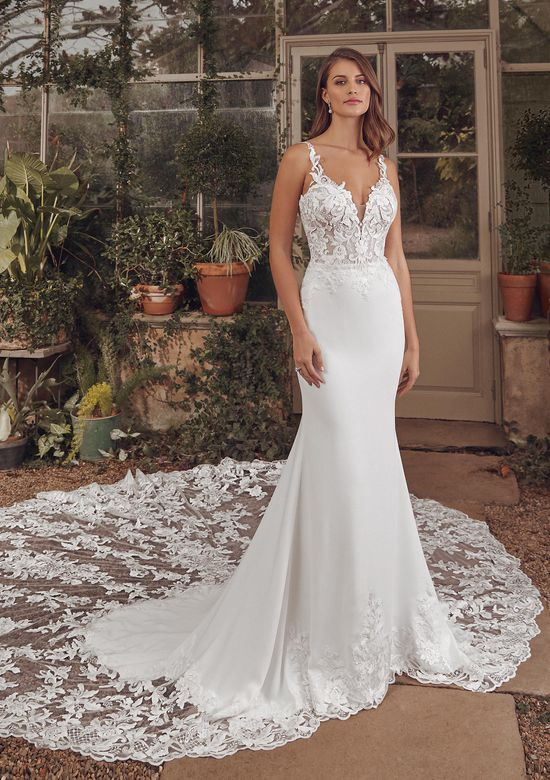 Justin Alexander Style 88153 Alivia Crepe Gown with Sequined Embroidered Lace and Cathedral Train