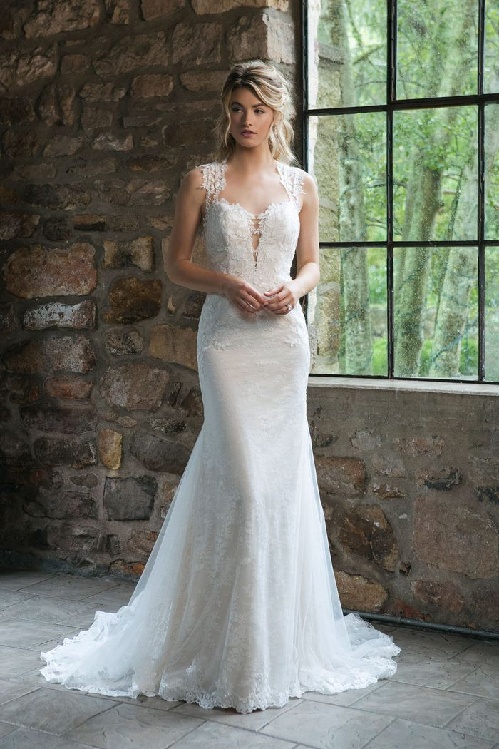 Sincerity style 44056 Queen Anne Allover Lace Fit and Flare Gown