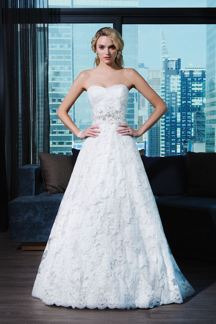 Justin Alexander Signature Style 9700 Lace A-line Dress with Crystal Beaded Belt