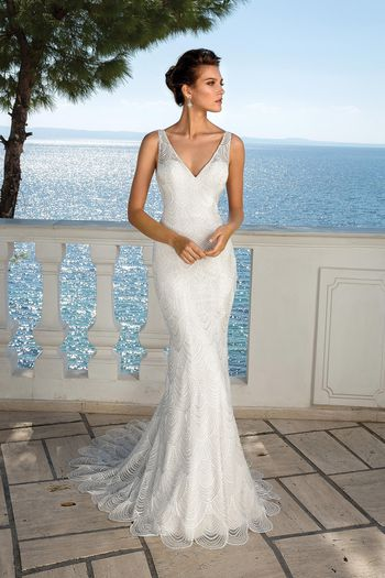 Justin Alexander Style 88057SD Beaded Chandelier Lace V-Neck Gown