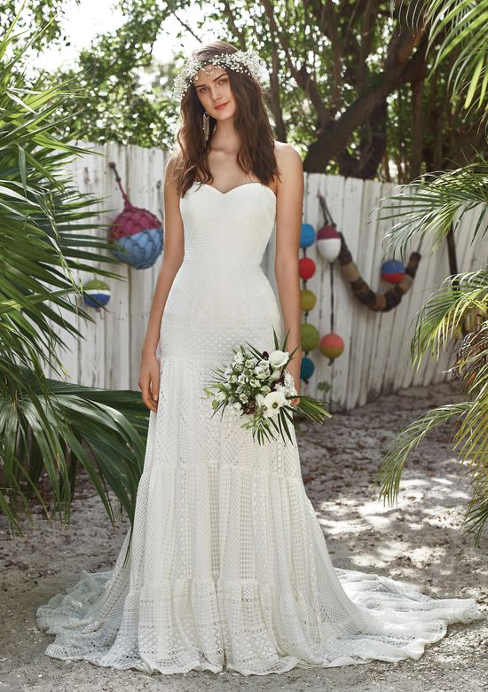 Lillian West Style 66031 Soft Allover Lace Gown with Unique Tiered Skirt