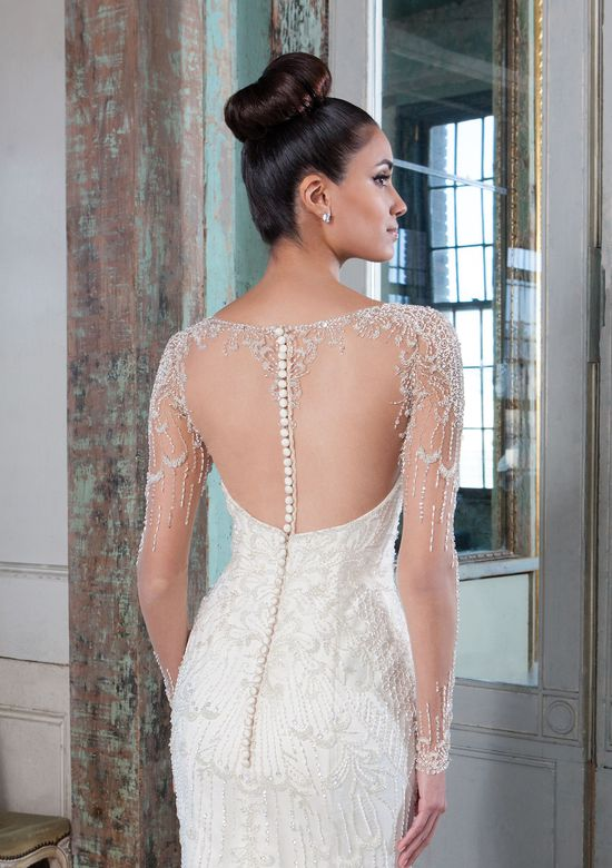 Justin Alexander Signature Style 9817 Beaded Fit and Flare Bridal Gown with Illusion Neckline