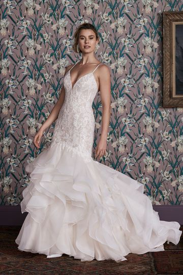 Justin Alexander Signature Style 99158 BASIE Mermaid Gown with Fully Beaded Bodice and Organza Ruffle Skirt