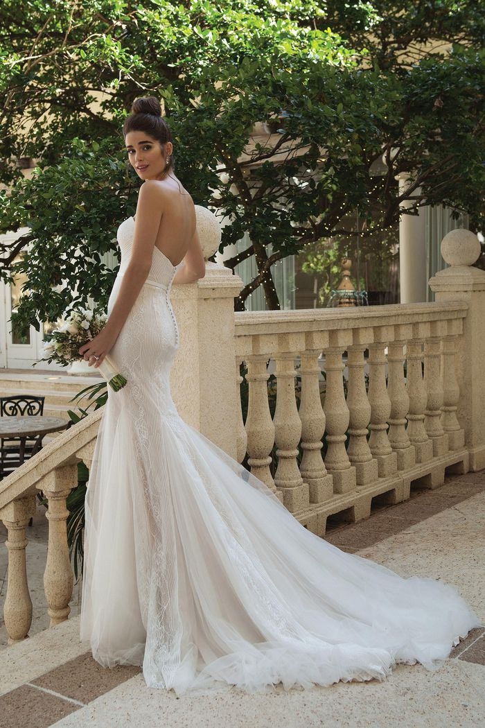 Sincerity Bridal Style 44071 Soft Allover Lace Fit and Flare with Tulle Godets