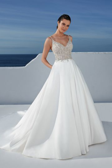 Justin Alexander Style 88174 Blanche Ball Gown with Beaded Bodice and Stretch Mikado Skirt